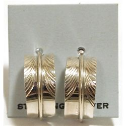 Navajo Sterling Silver Feather Post Earrings - Chris Charley
