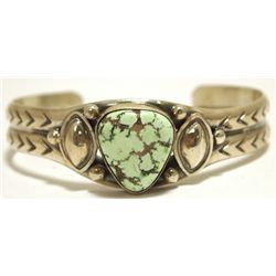 Old Pawn Navajo Carico Lake Turquoise Sterling Silver Cuff Bracelet - Lydia Begay