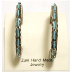 Zuni Turquoise Sterling Silver 3/4 Ring Post Earrings - Shirley Quam