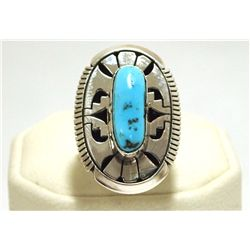 Navajo Sleeping Beauty Turquoise Sterling Silver Women's Ring - Eugene Belone