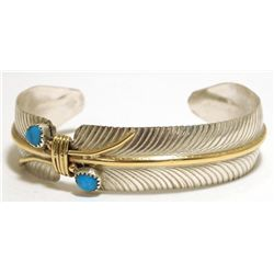 Navajo Turquoise & 12k Gold Fill over Sterling Silver Feather Cuff Bracelet - Virgil Reader