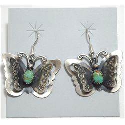 Navajo Green Turquoise Sterling Silver Butterfly French Hook Earrings - Tim Yazzie