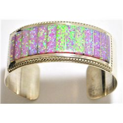 Zuni Pink Opal Inlay Sterling Silver Cuff Bracelet - Emery Lalacito