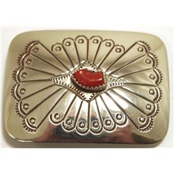 Navajo Coral Sterling Silver Buckle - Joann Silver