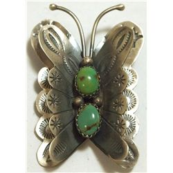 Navajo Turquoise Sterling Silver Butterfly Pendant & Pin - Tim Yazzie