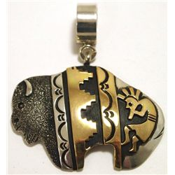 Navajo 12k Gold Fill over Sterling Silver Buffalo Pendant - Tommy Singer