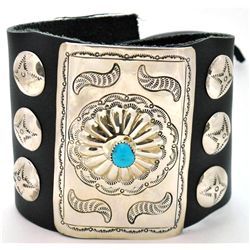 Navajo Turquoise Sterling Silver Large Bow Guard - Crystal Morgan