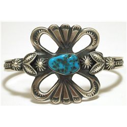 Navajo Turquoise Sterling Silver Cuff Bracelet - Henry Morgan