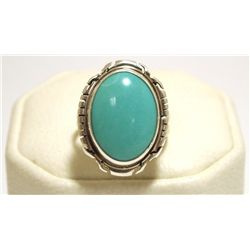 Navajo Turquoise Sterling Silver Women's Ring - Peggy Skeets