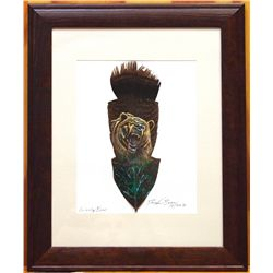 Navajo Grizzly Bear Feather Painting - Donovan Begay