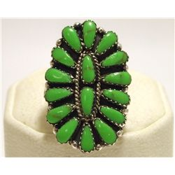 Navajo Green Turquoise Cluster Sterling Silver Women's Ring - Juliana Williams
