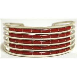 Zuni Coral Channel Inlay Sterling Silver Cuff Bracelet - Anselm Wallace