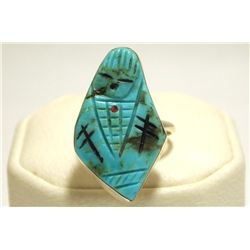 Zuni Turquoise Maiden Sterling Silver Women's Ring - Chad Quandelacy & Valerie Comosona