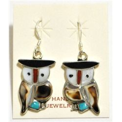 Zuni Shell & Turquoise Owl Sterling Silver French Hook Earrings - Pitkin Natewa