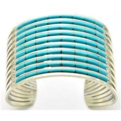 Zuni Turquoise Sterling Silver Cuff Bracelet - Anselm Wallace