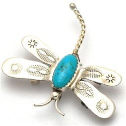 Navajo Turquoise Dragonfly Pin - Tim Yazzie