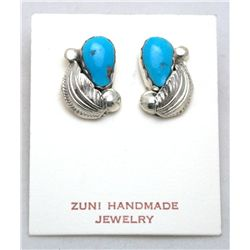 Zuni Turquoise Drop and Leaf Earrings