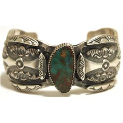 Old Pawn Navajo Royston Turquoise Sterling Silver Cuff Bracelet - Marc Antia