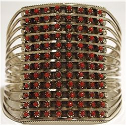 Zuni Coral Dots 12-Row Sterling Silver Cuff Bracelet - Susie Livingston