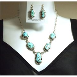 Navajo Dry Creek Turquoise Sterling Silver Necklace & Earrings Set - Mary Ann Spencer