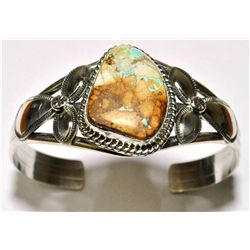 Navajo Boulder Turquoise Sterling Silver Cuff Bracelet - Mary Ann Spencer