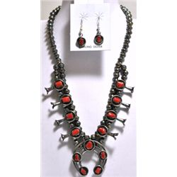 Navajo Coral Sterling Silver Squash Blossom Necklace & Earrings Set - Phil & Lenore Garcia