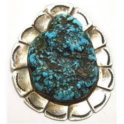 Vintage Old Pawn Navajo Sleeping Beauty Turquoise Sterling Silver Pendant