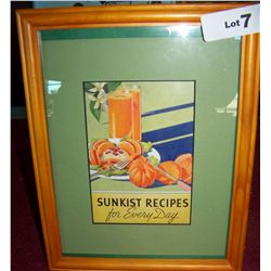 "FRAMED VINTAGE AD ""SUNKIST RECIPIES FOR EVERYDAY"" 12T x 9.5w"