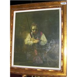 "IN MANNER OF REMBRANDT ""YOUNG GIRL WITH BROOM"" VINTAGE OIL ON CANVAS. FRAMED 34T X 30W"