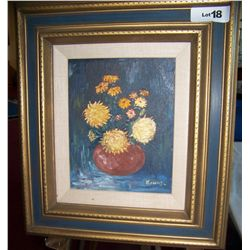 VINTAGE OIL ON CANVAS SIGNED KONAS. STILL LIFE WITH FLOWERS. FRAMED