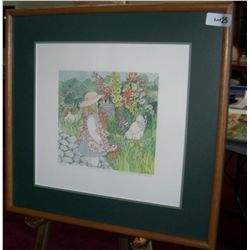 "MARY LAKE THOMPSON ""MORNING CHORES"" FRAMED WATER COLOR PRINT, SIGNED #544/550.  22T X 21W"
