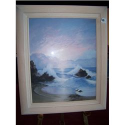 """OCEAN WAVES"" FRAMED WORK OF ART 25.5T X 21.5W"