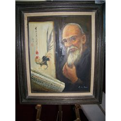"C.K HAHN VINTAGE OIL ON CANVAS PAINTING ""CHINESE WISEMAN"" FRAMED 27.5T X 24W"