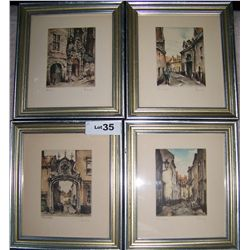 (4) VINTAGE HAND COLORED ETCHINGS, FRAMED. EUROPEAN THEME HAND SIGNED BY LINDY FRAMED 10 X 9
