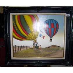 "H. HARGROVE ""HOT AIR BALLON"" ACRYLLIC PAINTING ON CANVAS. FRAMED 27T X 31W"
