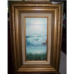 "BERGAN OIL ON CANVAS PAINTING ""SEA GULLS ON COAST"" FRAMED 19T X13 W"