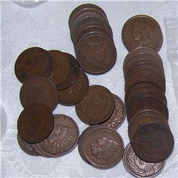 UNSEARCHED ROLL OF 48 U.S INDIAN CENTS