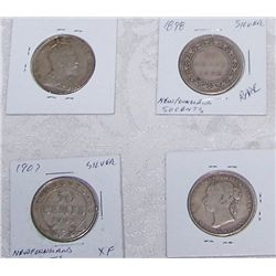 (4X$) RARE SILVER NEW FOUNDLAND HALF DOLLARS 1898-1907