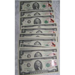 (16X$) $2 FEDERAL  RESERVE NOTES UNCIRCULATED, IN SEQUENCE, STAMPED 1995 SERIES