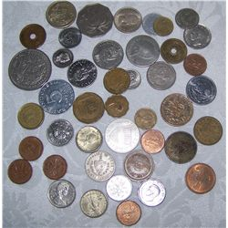 LOT OF FORIEGN COINS INCLUDING LOTS OF SILVER