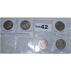 (5X$) LIBERIAN $5 PRESIDENTIAL COMMEMORATIVE COINS