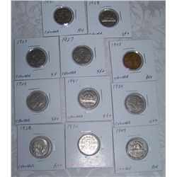 (11X$) EARLY CANADIAN LARGE NICKELS 1927-1949 SEMI KEY DATES