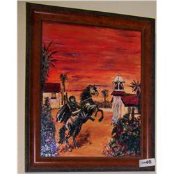 OIL & ACRYLIC PAINTING SIGNED BY TIM AYERS OF ZORRO ON HORSEBACK