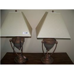 PAIR OF FINE SILK SHADE LAMPS