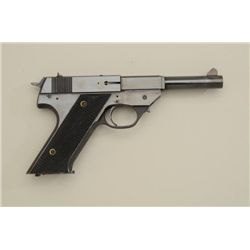 "Hi-Standard Model G 380 semi-auto pistol,  .380 cal., 5"" barrel, blue finish, checkered  black grips"