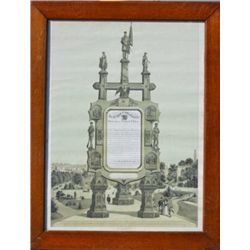 Old steel engraved print depicting easel  monument located in Chicago Illinois which  honored the ve