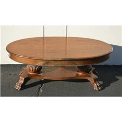 antique quarter sawn oak claw foot oval oak coffee table approx 4 feet long x 2 1 2 feet wide. Black Bedroom Furniture Sets. Home Design Ideas