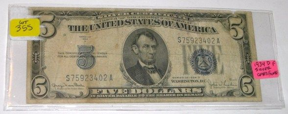 1934 SERIES D $5 SILVER CERTIFICATE DOLLAR BILL SERIAL # S75923402A ...