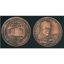 1986 Molson medal in box, commemorating the 200th anniversary of the Molson Brewery, copper.