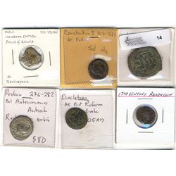 Ancients.  Mixed grouping of 6 coins.  Includes Constantine I, Justin II, Probus, Mauryan Empire etc